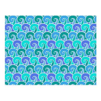Carte Postale Ressacs de l'eau dans le motif nautique bleu de