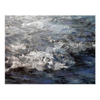 Carte Postale Ressacs orageux gris de peinture de plage