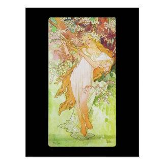 Carte Postale Ressort d'Alphonse Mucha Printemps
