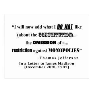 Carte Postale Restriction à la citation de Thomas Jefferson de