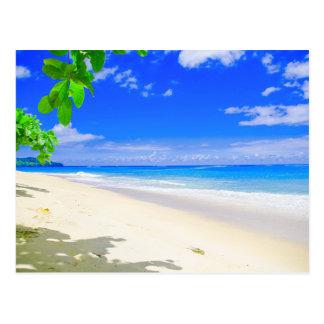 Carte Postale Retraite tropicale d'île sur la plage sablonneuse