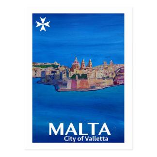 Carte Postale Rétro affiche Malte La Valette - ville des