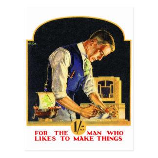 Carte Postale Rétro artisan vintage de travailleur du bois de