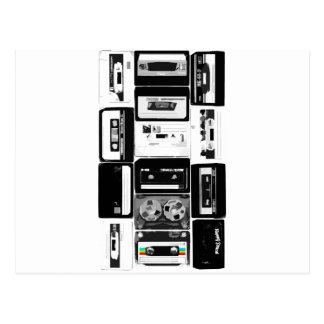 Carte Postale Rétro b&w de groupe de cassette audio