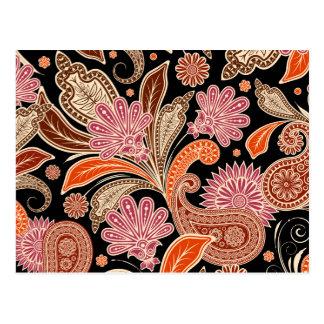 Carte Postale Rétro beau bohémien coloré Paisley de Boho