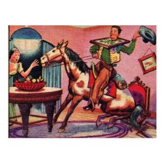 Carte Postale Rétro cheval vintage de kitsch dans la Chambre