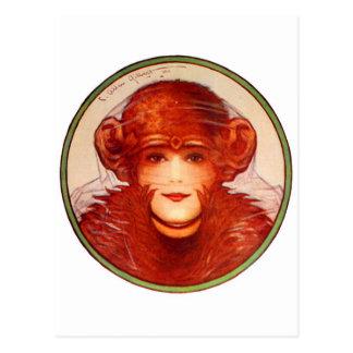 Carte Postale Rétro chimpanzé vintage ou femme d'illusion de