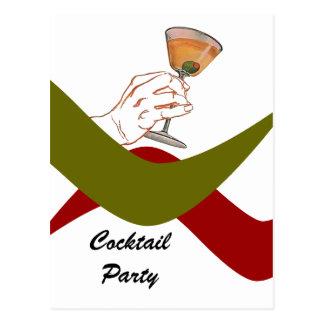 Carte Postale Rétro cocktail Martini de pendaison de crémaillère