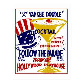 Carte Postale Rétro cocktail vintage de griffonnage de Yankee