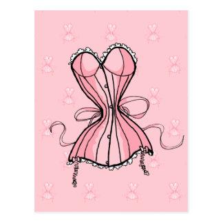 Carte Postale Rétro corset rose