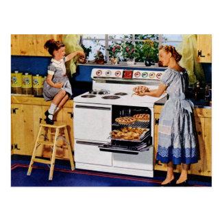 Carte Postale Rétro cuisine Postard de mère/fille