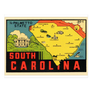 Carte Postale Rétro décalque vintage de Palmetto de la Caroline