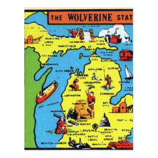 Carte Postale Rétro décalque vintage du Michigan Wolverine de