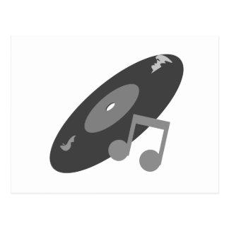Carte Postale Rétro disque de musique et gris de note