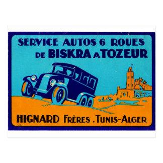 Carte Postale Rétro étiquette Postcatd de Hignard Frere Tunis