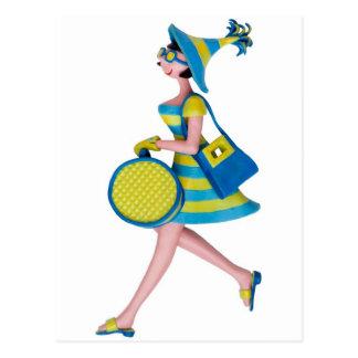Carte Postale Rétro femme de mode