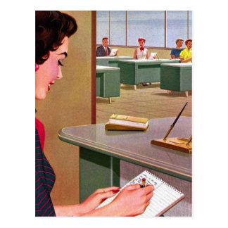 Carte Postale Rétro fête vintage de bureau d'années '60 de