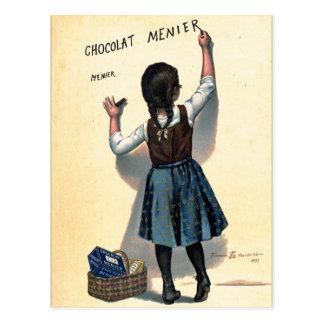 Carte Postale Rétro fille vintage de Chocolat de chocolat de