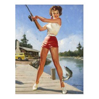 Carte Postale Rétro fille vintage de pin-up de pêche de Gil
