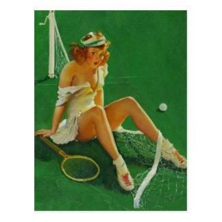 Carte Postale Rétro fille vintage de pin-up de tennis de Gil