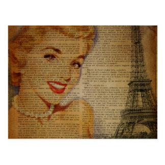 Carte Postale Rétro goupille de Paris de Tour Eiffel vers le