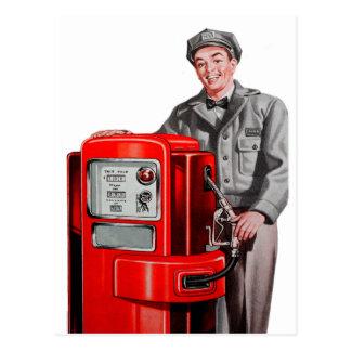Carte Postale Rétro GUS vintage de station d'essence de gaz de