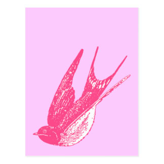 Carte Postale Rétro hirondelle rose