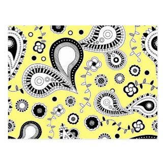 Carte Postale Rétro jaune de motif de Paisley