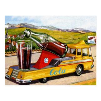 Carte Postale Rétro kitsch vintage annonçant le camion du kola
