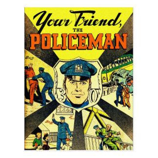 Carte Postale Rétro kitsch vintage votre ami le policier