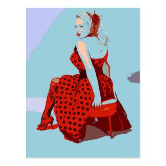 Carte Postale Rétro Madame vintage de balancier dans la robe de
