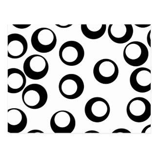 Carte Postale Rétro modèle noir et blanc de cercles