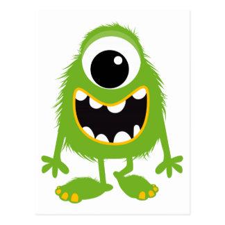 Carte Postale Rétro monstre mignon vert