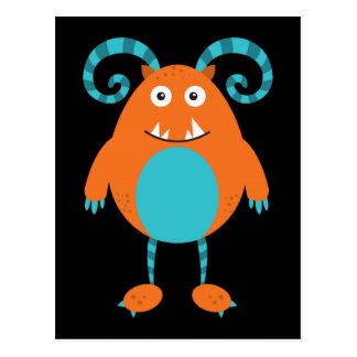Carte Postale Rétro monstre orange mignon