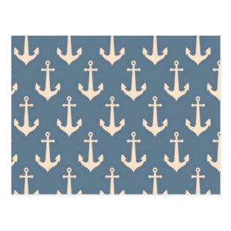 Carte Postale Rétro motif blanc bleu vintage d'ancre