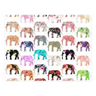 Carte Postale Rétro motif floral lunatique Girly d'éléphants
