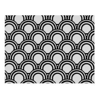 Carte Postale Rétro motif noir et blanc d'abrégé sur art déco