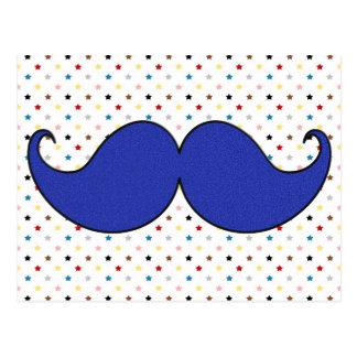 Carte Postale Rétro moustache bleue de moustache