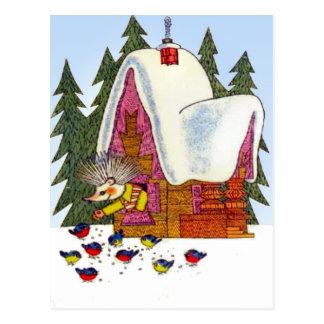 Carte Postale Rétro Noël vintage, le cottage du hérisson