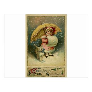 Carte Postale Rétro Noël vintage victorien d'enfant et de chat