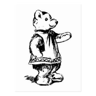 Carte Postale Rétro ours de nounours mignon noir et blanc