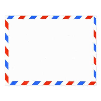 Carte Postale Rétro poste aérienne démodée blanche et bleue