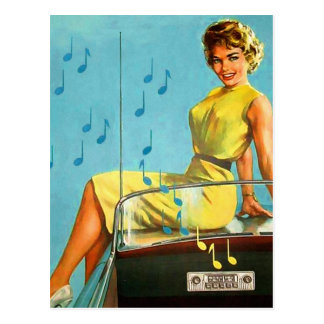 Carte Postale Rétro radio vintage de rock de les années 50 de
