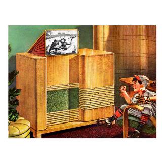Carte Postale Rétro radio vintage de télévision du kitsch TV
