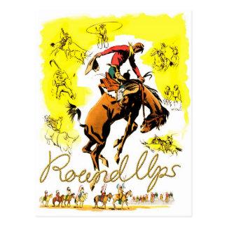 Carte Postale Rétro rassemblement vintage de cowboy de rodéo