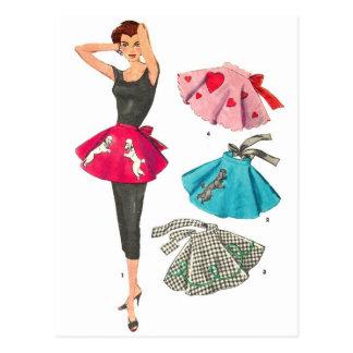 Carte Postale Rétro tablier vintage de jupe de caniche de mode
