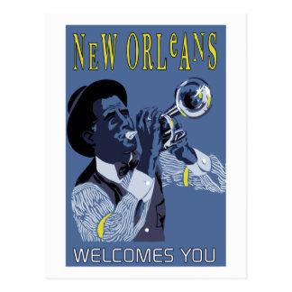 Carte Postale Rétro trompettiste de jazz de la Nouvelle-Orléans