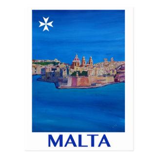 Carte Postale RÉTRO ville de Malte La Valette d'AFFICHE de