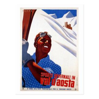 Carte Postale Rétro voyage italien vintage de ski de sports