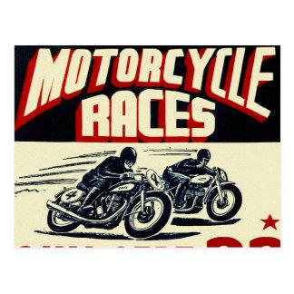 Carte Postale Rétros courses vintages de moto de Langhorn de